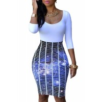 Half Sleeve O Neck Galaxy Skirt Patchwork Bodycon Dress