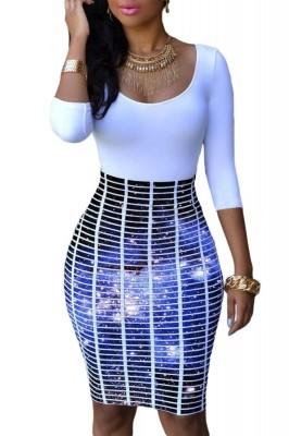 Half Sleeve O Neck Galaxy Skirt Patchwork Bodycon Dress