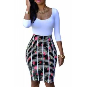 Half Sleeve O Neck Rose Skirt Patchwork Bodycon Dress