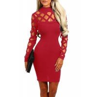 Hollow-out Long Sleeve Mock Neck Bodycon Dress Red Blue Green Black Navy