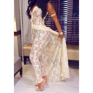 Lace See-Through Two-Piece Sexy Plunging Neck Sleeveless Maxi Dress + Pants For Women white