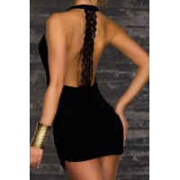 Lace Spliced Backless Bodycon Sexy Plunging Neck Dress For Women black