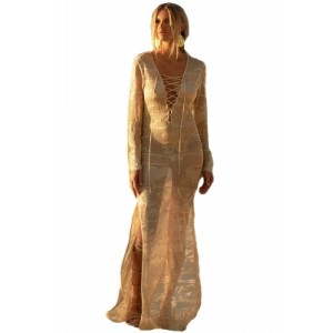 Lace-up and Side Split Lace Maxi Kaftan