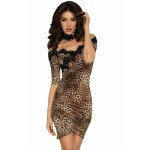 Leopard Embroidered Off Shoulder Cocktail Dress
