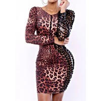 Leopard Print Hollow Out Design Long Sleeve V-Neck Spliced Sexy Dress For Women