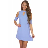 Light Blue Artful Keyhole and Cold Shoulder Dress