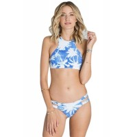 Light Blue Tropical Leaf Print High Neck Tankini Bathing Suit