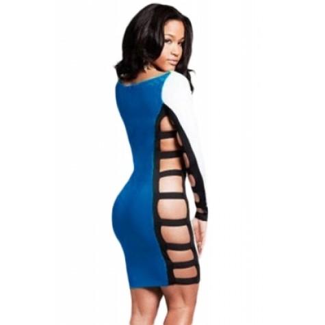 94715c960dae Long Sleeve Sided Slits Bodycon Dress Blue Green (Long Sleeve Sided ...