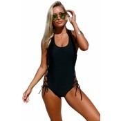 Maldives Resort Lace up Side Accent Open Back One-piece Swimsuit