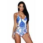 Medusa Palms Lace Up Cutout One Piece Swimsuit