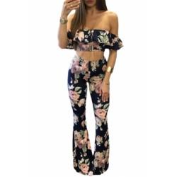 Navy Floral Print Ruffle Crop Top and Pant Set