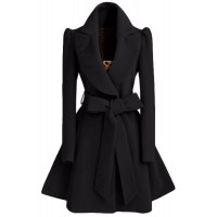 Noble Turn-Down Collar Long Sleeve Pure Color Self Tie Belt Coat Dress For Women - Khaki Black