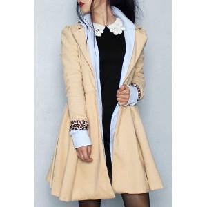 Noble Turn-Down Collar Long Sleeve Pure Color Self Tie Belt Coat Dress For Women - Khaki Black