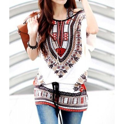 Off-The-Shoulder Full Print Batwing Sleeve Ladylike T-Shirt For Women white