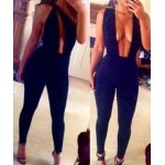 One-Shoulder Sleeveless Hollow Out Backless Sexy Jumpsuit For Women black
