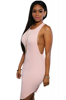 Pink Daring Sleeveless Knit Dress