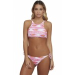 Pink Geometric Print Strappy Back High Neck Swimsuit