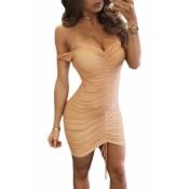 Pink Mesh Nude Illusion Ruched Off Shoulder Dress Black