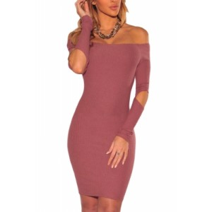 Pink Ribbed Knit Off Shoulder Cut Out Long Sleeves Dress