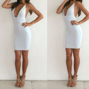 Plunging Neck Backless Solid Color Sexy Dress For Women white