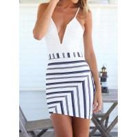 Plunging Neck Sleeveless Striped Lace Splicing Sexy Dress For Women white