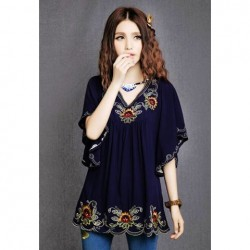 Plus Size V-Neck Embroidered Batwing Sleeve Blouse For Women deep blue