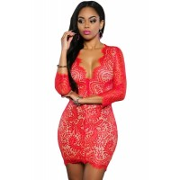 Red Lace Nude Mini Dress Black