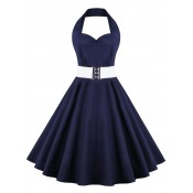 Retro Halter Sweetheart Neck Pure Color Ball Dress blue