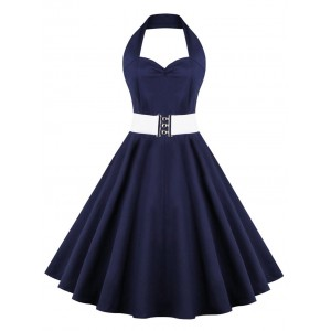 Retro Halter Sweetheart Neck Pure Color Ball Dress blue