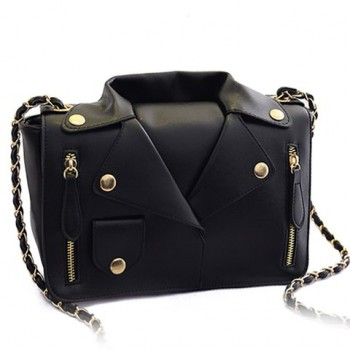 Retro Style Women's Crossbody Bag With Chain and Clothes Pattern Design black blue rose