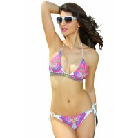 Rose Neon Paisley Push-up Triangle Swimsuit Set