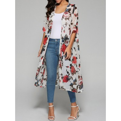 Rose Print Chiffon Kimono - White