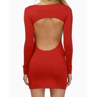 Scoop Neck Solid Color Backless Long Sleeves Sexy Dress For Women red black blue
