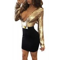 Sequin Plunging Top Belted Long Sleeve Dress Gold Black