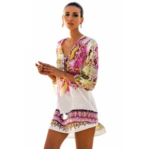 Serpentine Print Hi-lo Hem Beach Cover-up