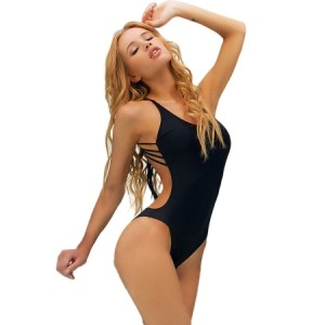 Sexy Black One-piece Swimwear with Strings White