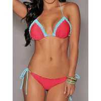 Sexy Halter Laciness Spliced Lace-Up Bikini Set For Women red