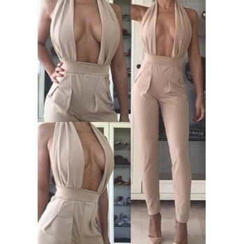 Sexy Halter Sleeveless Backless Hollow Out Jumpsuit For Women white red