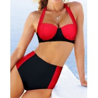 Sexy Halter Sleeveless Color Block High-Waisted Bikini Set For Women black red