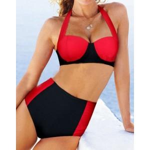 Sexy Halter Sleeveless Color Block High-Waisted Bikini Set For Women black red
