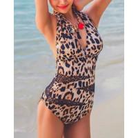 Sexy Halter Sleeveless Leopard Print One-Piece Swimwear For Women