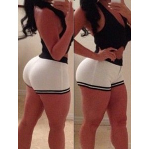 Sexy Halter Solid Color Tank Top + Spliced Bodycon Shorts Twinset For Women white black