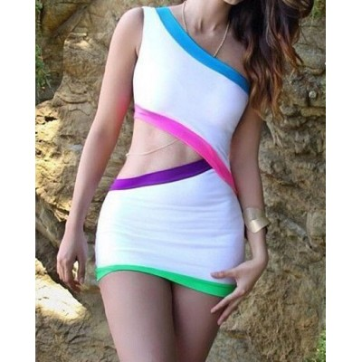 Sexy One-Shoulder Sleeveless Hollow Out Color Block Dress For Women white