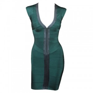 Sexy Plunging Neck Color Splicing Zipper Front Sleeveless Bandage Dress For Women green