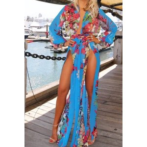 Sexy Plunging Neck Long Sleeve Floral Print Cover-Up For Women