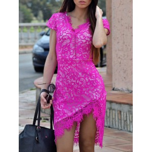Sexy Plunging Neck Short Sleeve Lace Hollow Out Bodycon Dress For Women blue