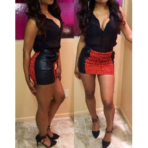 Sexy Plunging Neck Sleeveless Blouse + Leopard Print Skirt Twinset For Women red black