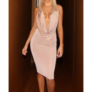 Sexy Plunging Neck Sleeveless Draped Solid Color Dress For Women nude