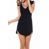 Sexy Plunging Neck Sleeveless Solid Color Asymmetrical Club Dress For Women black