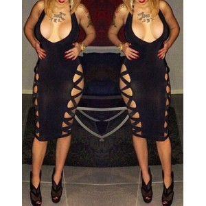 Sexy Plunging Neck Sleeveless Solid Color Hollow Out Club Dress For Women black